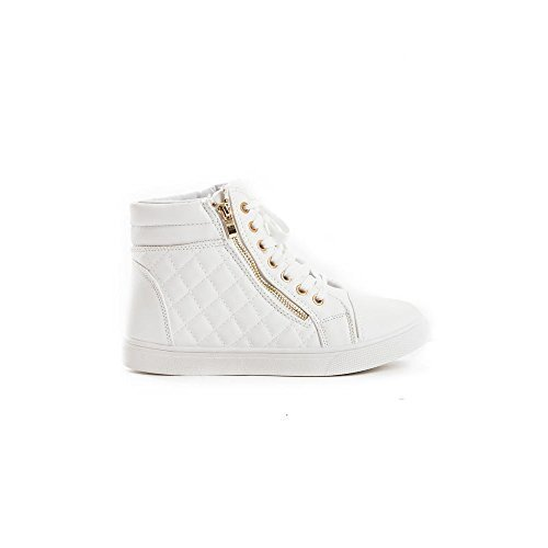 Zipper Leatherette (Soho Shoes Women's Leatherette Quilted Zipper Lace Up High Top Sneakers White 10 B(M) US)