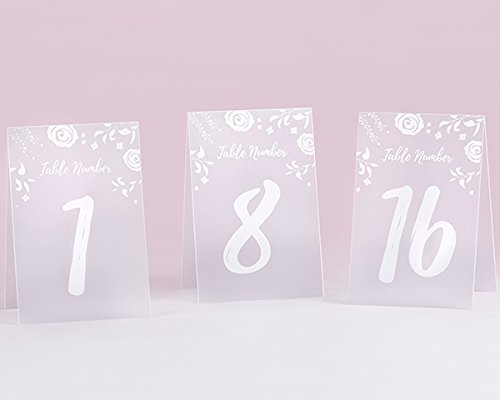 4 SETS of 18 White Frosted Floral Tented Table Numbers (1...
