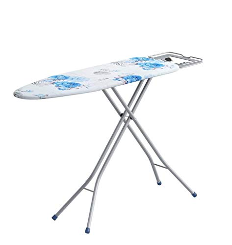 Keekos Household 4 Leg Foldable Heat Resistant Silicone Ironing Board with Adjustable Height (White and Blue)