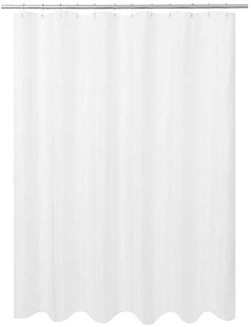 """N&Y HOME Ultimate Waterproof Fabric Shower Curtain or Liner, Machine Washable & Breathable TPU, Use for Bath Tub/Stall, White, 72""""x72"""" (Standard Size)"""