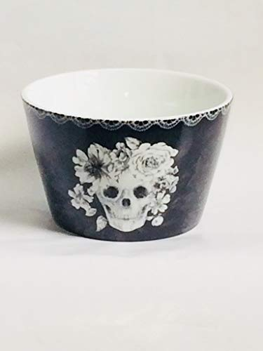 222 Fifth Halloween Day of the Dead Marbella Skull Appetizer Bowls SET OF 4