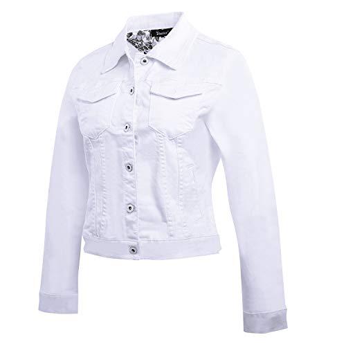 Dasior Women's Slim Fit Short Cropped Button Down Jean Denim Jacket with Pockets M White