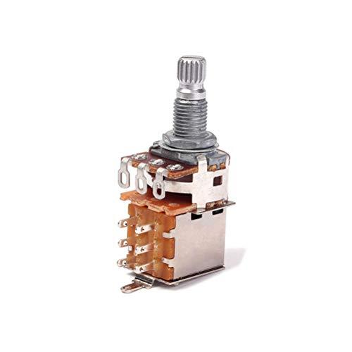 HEALLILY A250K B500K Guitar Potentiometers Shaft Audio Taper Potentiometer Split Shaft Curved Pot Knurled Volume and Tone Controls 18mm