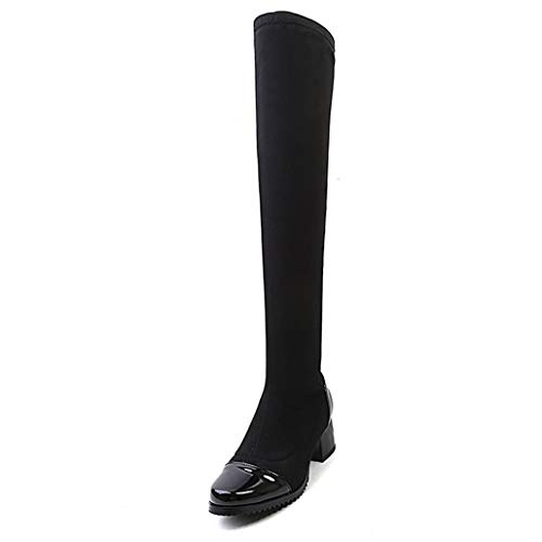 ODOKAY Women Autumn Winter Boots Fashion Sexy Slim Thigh High Long Boots Patent Round Toe Motorcycle Boots