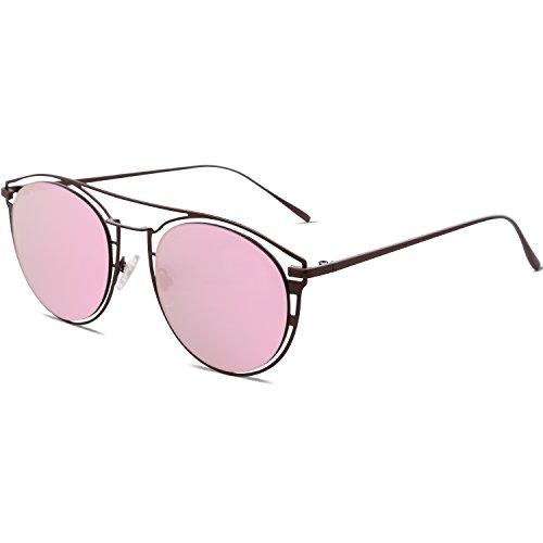 Miroité Métal Mode soleil Marron Miroir pour Lunettes Lentille Cadre SJ1097 Femmes Rose Street de 05XIxqR