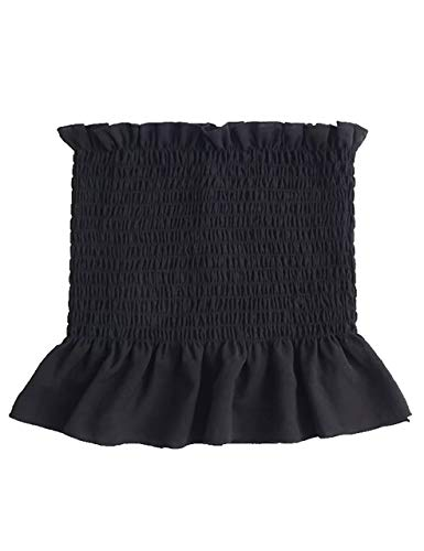 KAMISSY Women's Frill Smoked Crop Tank Top Bandeau Tube Top Vest
