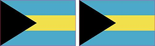 2.5in x 1.5in Bahamas Flag Stickers Car Truck Vehicle Bumper Decal