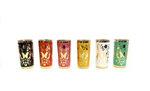 Moroccan-Inspired Floral and Butterfly Print Decorative Set of 6 Glass Votive Candle Holder Set ()