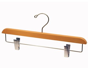 Light Oak Finish Pant/Skirt Hanger with Chrome Plated Metal Hardware - Large Box of 100 by Beverly Coat Hanger Co., Inc.