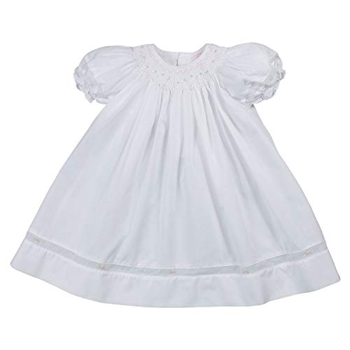 Petit Ami Baby Girls' Smocked Daygown with Voile Insert, 12 Months, White ()
