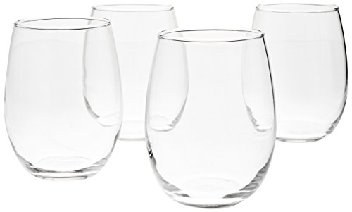 (AmazonBasics Stemless Wine Glasses, 15-Ounce, Set of 4)