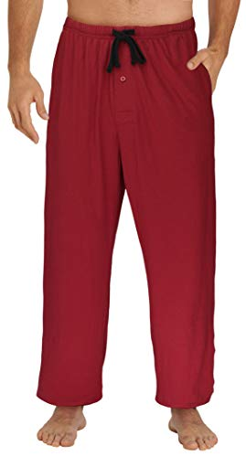 EVERDREAM Sleepwear Mens Jersey Knit Pajama Pants, Long Pj Bottoms,Size X-Large Red Tall