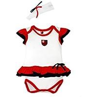 Rêve D'or Sport - Body Vestido com Tiara Flamengo Menina, M, Branco/Vermelho/Preto