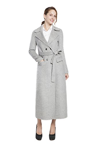 (RLM Ladies Handmade Fashion Coat Woolen Double-Breasted Coat with Belt Slim Coat (12, Gray))