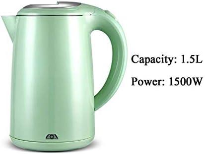 Waterkoker Automatische Uitschakeling Grote Capaciteit 1500W Anti-Verbranding Isolatie Geïntegreerd Roestvrij Staal 1.5L Groen Gemakkelijk Te Gebruiken