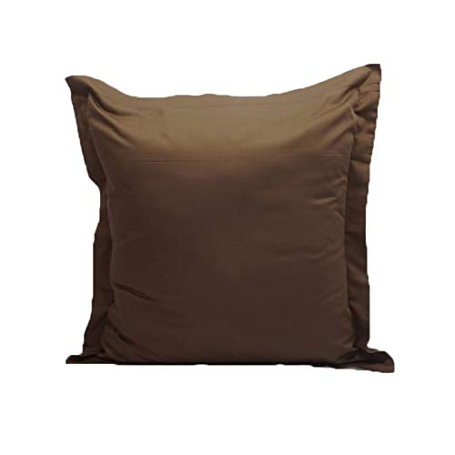 Solid Pattern 2 Piece Euro Shams 500 Thread Count 100% Egyptian Cotton 26 x 26 Inch (66cm x 66cm), Chocolate. (Shams Euro Chocolate)