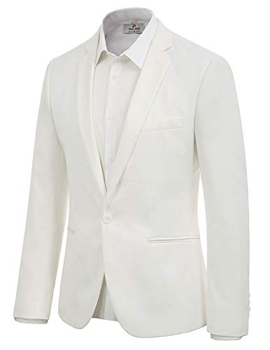 Solid Slim Fit Single One Button Blazer Jackets for Men Size 2XL White