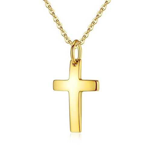 MgTree Simple Stainless Steel Polished Finish Cross Pendant Necklace for Women Men, 20-24