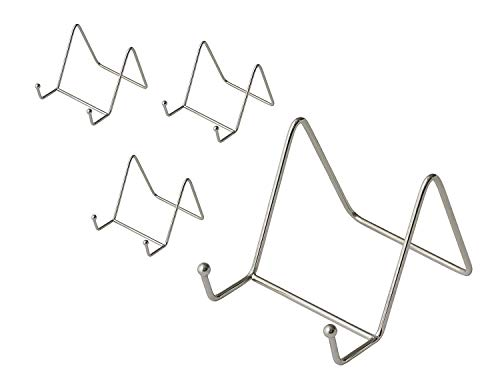 BOVADO USA Pack of 4 Nickel Plate Stands Decorative Counter Top Displays for Kitchenware - 3 x 3 Inches