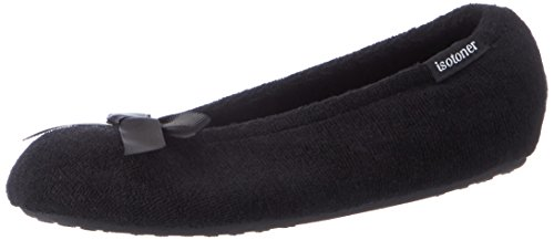 Ladies Ballet Terry Nero Pantofole bow Isotoner black Donna W Blk Slippers FwqPwCHd