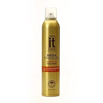 IT Haircare MEGA Freeze Extreme Hold Hair Spray | 7.75 Oz. | Vitamin B5 & Hydrolyzed Wheat Protein | Humidity Resistant | Optical Brighteners for Enhanced Shine | 24 Hour Hold Fast-Dry