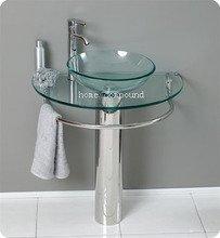 Modern Glass Bathroom Vanity Clear Glass Vessel Sink Pedestal Faucet