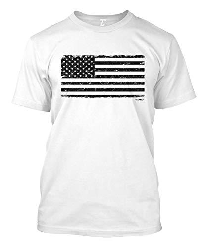 Distressed Black USA Flag - Patriotic Men's T-Shirt (White, Large)