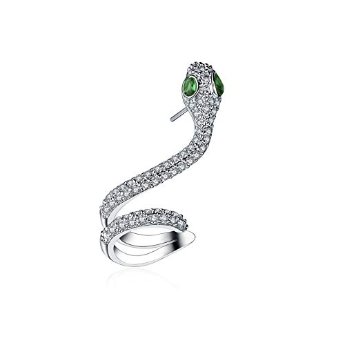 Changgaijewelry Cute Snake Cubic Zirconia Cuff Wraps Stud Earrings for Women Girls Cartilage Fashion Green CZ Piercing Crawler Climber