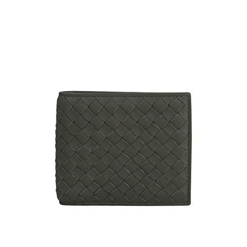 (Bottega Veneta Men's Intercciaco Bifold Dark Gray Soft Leather Wallet 196207 1300 )