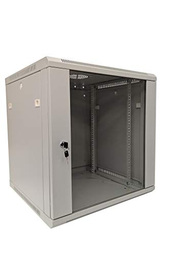 KENUCO LNWW Deluxe IT Wall Mount Cabinet | Server Rack | Data Network Enclosure 19-Inch Server Network Rack with Locking Tempered Glass Door 19-Inches Deep White [Fully Assembled] (White- 12U) ()