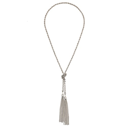 D EXCEED Womens Fashion Gift Idea Silver Lovely Knot Tassel Pendant Y Necklace for Her Adjustable Length