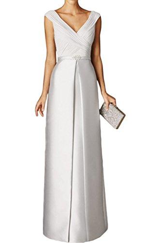 Hell Gruen Elfenbein Abendkleider mia Braut V Brautjungfernkleider Lang Partykleider Chiffon La Promkleider Ausschnitt Neu EaAqBtwwn