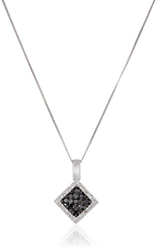 10k White Gold Square White and Black Diamond Pendant Necklace (1/5 cttw, I-J Color, I2-I3 Clarity) ()
