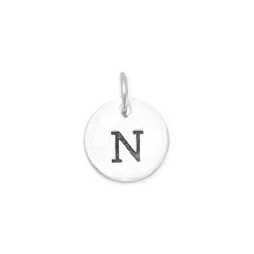 (Oxidized Sterling Silver Letter/Initial N Charm, 7/16 inch)