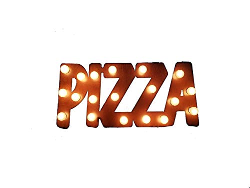 (Pizza Sign Lighted Marquee Made out of Rusted Steel 3 week sale)