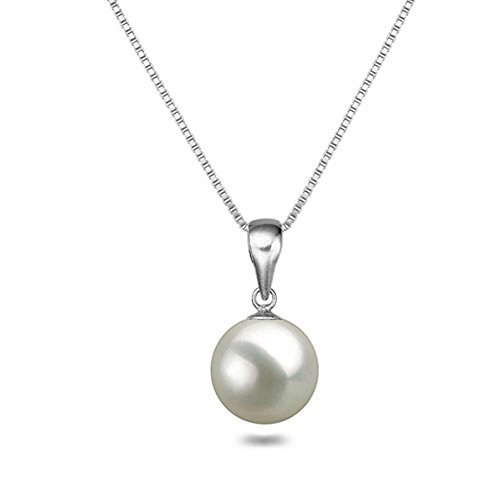 White Japanese AAAA 10mm Freshwater Cultured Pearl Pendant Necklace 18 Inch Solitaire Necklace Pendant