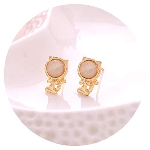 - Selling Cat earrings Mosaic crystal Animal Opal woman jewelry metal,Green