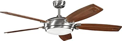 """Kichler 300156BSS, Trevor Brushed Stainless Steel 60"""" Ceiling Fan with Light & Remote Control"""