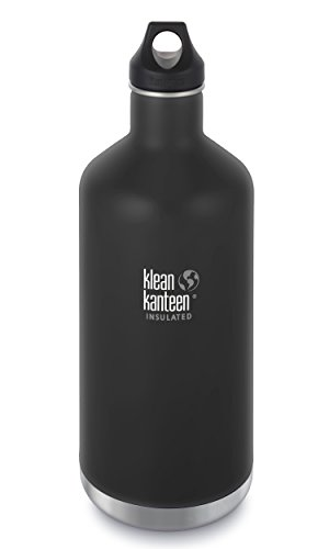 Klean Kanteen 64oz Classic Stainless Steel Water Bottle with Klean Coat, Double Wall Vacuum Insulated and Leak Proof Loop Cap - Shale Black (NEW 2018) by Klean Kanteen