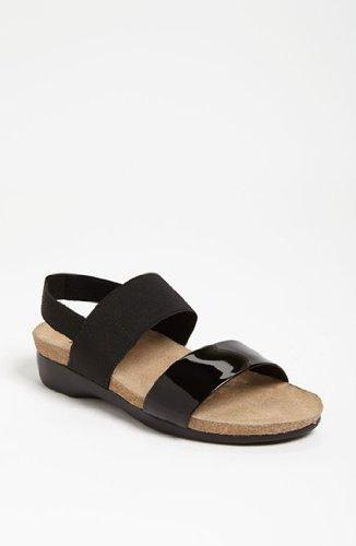 Munro American Women's Pisces Black Patent/Black Fabric Sandal 6.5 W (Munro Shoes Women)