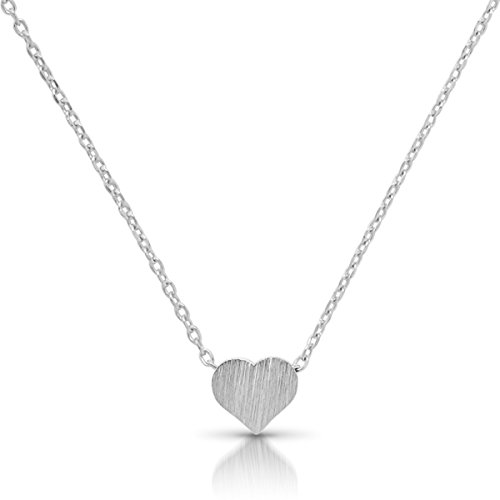 Humble Chic Tiny Heart Necklace - Delicate Dainty Pendant Chain Link Mini Charm, Silver-Tone