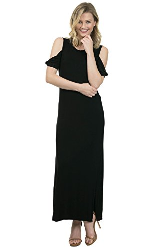 iliad USA 4773 Women Cold shoulder basic rayon maxi dress Black large