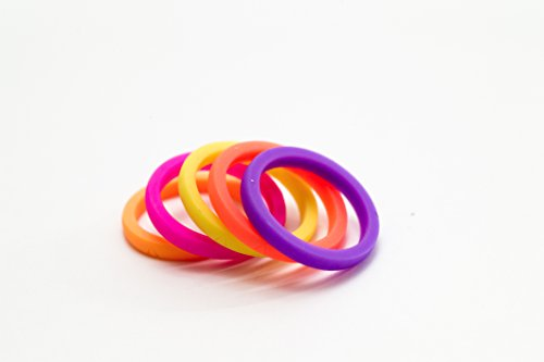 ARES Hypoallergenic Silicone Rings for Women, Skin Safe wedding bands, Medical Grade, Thin and Breathable, Best for crossfit, exercise and workout. Neon pink, orange, red, purple and yellow. Size 6