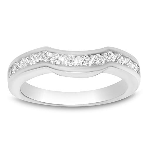 Guard Ring Anniversary - Wedding Band for Square 3 Stone Engagement Anniversary Ring .925 Sterling Silver CZ Size 7