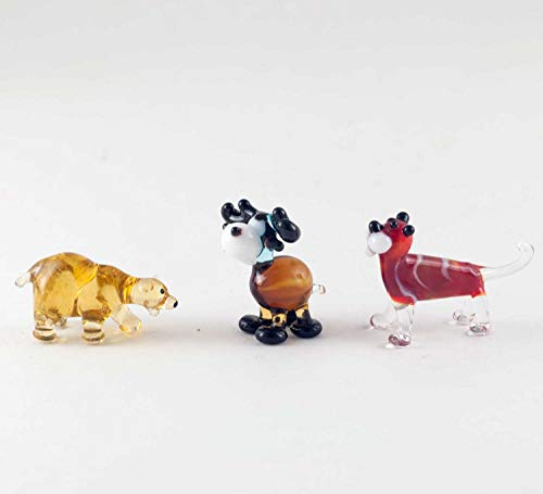 - Set of 3 Tiny Glass Figurines - Bear Moose Tiger Hand-Blown Art Collectible Tinies