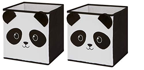 Animal Themed Toy Storage Bins and Coordinating Solid Collapsible Bins 2 Pack Sets (Panda 2 Pack) (Furniture Brick Nj)