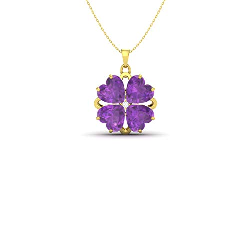 - Diamondere Natural and Certified Heart Cut Amethyst and Diamond Flower Necklace in 18k Yellow Gold | 1.76 Carat Pendant with Chain