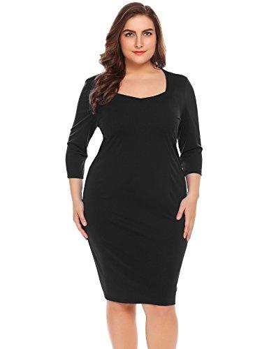 Women\'s Plus Size Sweetheart Neck Wear to Work Dress 3/4 Sleeve ...