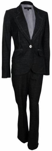 Nine West Women's Urban Summer Pant Suit (10, Black/Ivory) by Nine West
