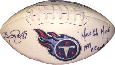 Kevin Dyson Autographed Ball - Logo Music City Miracle & 1999 AFC Champs minor imperfection - Autographed ()